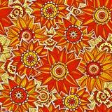 Het patroon van de sinaasappel en rede van de zonnebloem Royalty-vrije Stock Fotografie