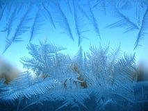 Het patroon van de sneeuw op de wintervenster Stock Foto