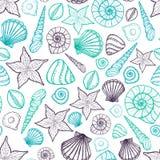Het Patroon van de strandzeeschelp Vector naadloos patroon met de stijl van de zeeschelpenkrabbel Stock Foto's