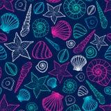 Het Patroon van de strandzeeschelp Vector naadloos patroon met de stijl van de zeeschelpenkrabbel Stock Foto
