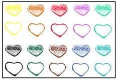Het patroon van de valentijnskaartendag met kleurrijke harten op witte achtergrond Stock Foto
