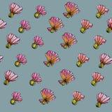 Het Patroon van de waterverfbloem, blauwe achtergrond Stock Fotografie