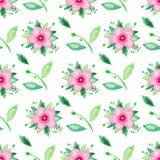 Het patroon van de waterverfillustratie naadloos van roze bloeiende kers nam Bloemenreeks op witte achtergrond toe royalty-vrije illustratie