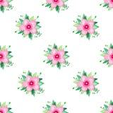 Het patroon van de waterverfillustratie naadloos van roze bloeiende kers nam Bloemenreeks op witte achtergrond toe vector illustratie