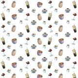 Het patroon van de waterverfkoffie op witte achtergrond Stock Foto's