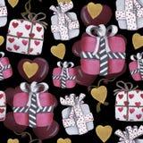 Het patroon van de waterverfliefde voor de dag van Valentine royalty-vrije stock afbeelding