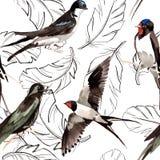 Het patroon van de waterverfvogelveer van vleugel stock illustratie