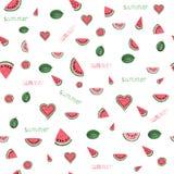 Het patroon van de waterverfwatermeloen Royalty-vrije Stock Fotografie