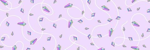 Het patroon van de Webbanner van het kwarts van de kristalregenboog in pastelkleuren Royalty-vrije Stock Foto