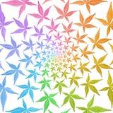 Het patroon van de werveling van cirkelframes van kleurrijke bladeren die op wh worden geïsoleerd, Royalty-vrije Stock Afbeelding