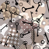 Het patroon van Decoupage met sleutels en harten royalty-vrije illustratie