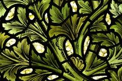 Het patroon van doorbladert in gebrandschilderd glas Stock Afbeeldingen