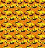 Het patroon van Halloween met knuppels en pompoenen stock illustratie