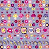 Het patroon van harten, van paddestoelen & van bloemen stock illustratie