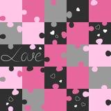 Het patroon van heilige Valentin van raadsels Puzzelspel stock illustratie