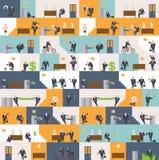 Het patroon van het bureauleven Futuristische Achtergrond Managers in werkplaats Royalty-vrije Stock Fotografie