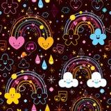 Het patroon van het de hartenbeeldverhaal van regenbogenwolken Stock Foto