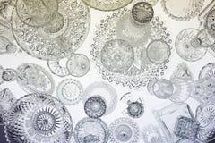 Het patroon van het glaswerk op lijst Stock Foto