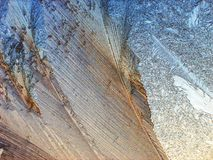 Het patroon van het ijs op het venster Stock Foto's