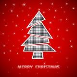 Het patroon van het kerstboomgeruite schots wollen stof Stock Foto's