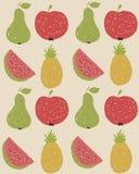 Het patroon van het krabbelfruit in retro kleuren Stock Afbeelding