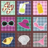 Het patroon van het lapwerk met strandvoorwerpen Stock Foto's