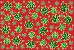 Het patroon van het onkruidblad op rode achtergrond Royalty-vrije Stock Afbeeldingen