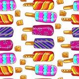 Het patroon van het roomijs Helder naadloos patroon van roomijs Roomijs op een stok De zomer naadloos patroon, achtergrond Stock Foto's