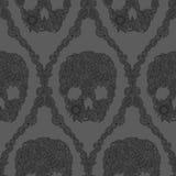 Het patroon van het schedelsdamast Royalty-vrije Stock Afbeeldingen