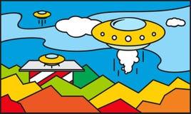 Het patroon van het UFOgebrandschilderde glas stock illustratie