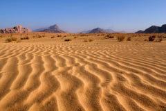 Het patroon van het zand, de woestijn van de Rum van de Wadi. Jordanië Stock Foto's