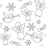 Het patroon van Kerstmis Engelen, sterren en sneeuwvlokken royalty-vrije illustratie