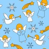 Het patroon van Kerstmis Engelen, sterren en sneeuwvlokken stock illustratie