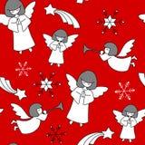 Het patroon van Kerstmis Engelen, sterren en sneeuwvlokken vector illustratie