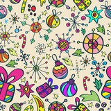 Het patroon van Kerstmis met kleurenelementen Stock Afbeelding