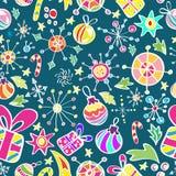 Het patroon van Kerstmis met kleurenelementen Stock Foto's