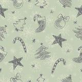 Het patroon van Kerstmiskrabbels Royalty-vrije Stock Afbeeldingen