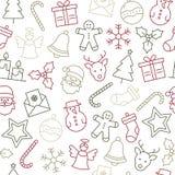 Het patroon van Kerstmispictogrammen stock illustratie