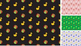 Het patroon van kinderen met eenden en ballen Stock Fotografie