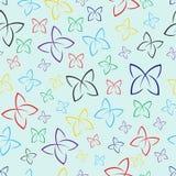 Het patroon van kleurrijke vlinders Horizontaal en verticaal naadloze achtergrond Witte achtergrond vector illustratie
