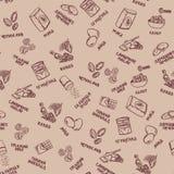 Het patroon van koekjesingrediënten op beige achtergrond met pruimen en okkernoten royalty-vrije illustratie