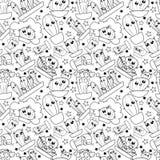 Het patroon van leuk beeldverhaal hand-trekt cactus royalty-vrije illustratie
