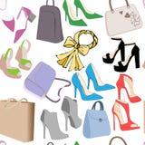 Het patroon van maniervrouwen doet handtassen en de zomerschoenen in zakken Realistisch zakken en schoenen naadloos patroon royalty-vrije illustratie