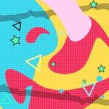 Het patroon van Memphis van geometrische vormen voor weefsel en prentbriefkaaren Vector illustratie Santa Claus met de zak van st vector illustratie