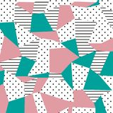 Het patroon van Memphis Neigend abstract ontwerp met onregelmatige vormen, punten en lijnen Royalty-vrije Stock Fotografie