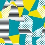 Het patroon van Memphis Neigend abstract ontwerp met onregelmatige vormen, punten en lijnen Stock Foto