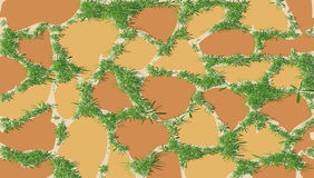 Het patroon van metselwerk met groen gras Stock Afbeelding