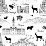 Het patroon van reisschotland De de oriëntatiepuntenachtergrond van Groot-Brittannië Stock Foto
