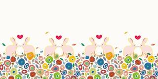 Het patroon van roompasen met kleurrijk punten en konijntje vector illustratie