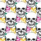 Het patroon van schoonheidsschedels Hand getrokken naadloze achtergrond met kleurendriehoek voor textiel, stof, het verpakken Vec royalty-vrije illustratie